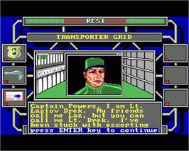 In game image of Omnicron Conspiracy on the Commodore Amiga.
