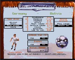 In game image of On the Ball: World Cup Edition on the Commodore Amiga.