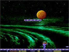 In game image of Ooops Up on the Commodore Amiga.