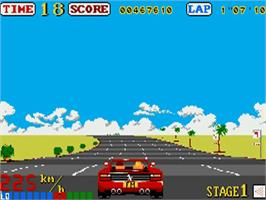 In game image of Out Run on the Commodore Amiga.