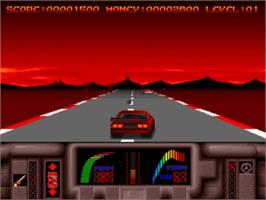 In game image of Overlander on the Commodore Amiga.