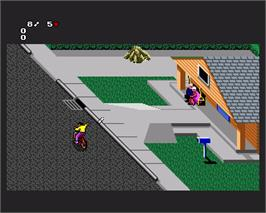 In game image of Paperboy 2 on the Commodore Amiga.