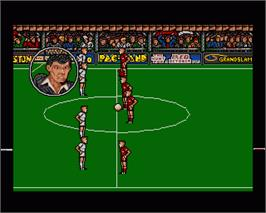 In game image of Peter Beardsley's International Football on the Commodore Amiga.