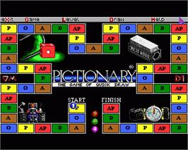 In game image of Pictionary on the Commodore Amiga.