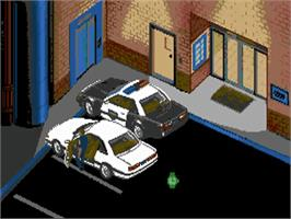 In game image of Police Quest 3: The Kindred on the Commodore Amiga.