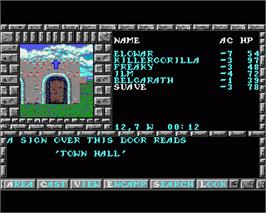 In game image of Pools of Darkness on the Commodore Amiga.