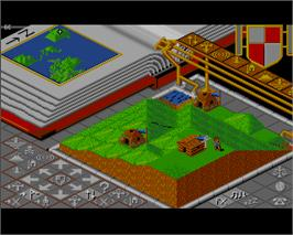 In game image of Populous: The Final Frontier on the Commodore Amiga.