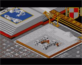 In game image of Populous II: Trials of the Olympian Gods on the Commodore Amiga.