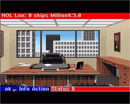 In game image of Ports of Call on the Commodore Amiga.