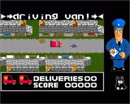 In game image of Postman Pat on the Commodore Amiga.