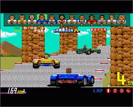 In game image of Power Drift on the Commodore Amiga.