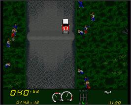 In game image of Power Drive on the Commodore Amiga.