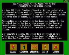 In game image of President is Missing on the Commodore Amiga.