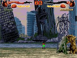 In game image of Primal Rage on the Commodore Amiga.