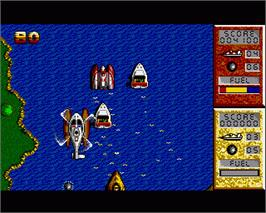 In game image of Pro Powerboat Simulator on the Commodore Amiga.