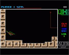 In game image of Qix on the Commodore Amiga.