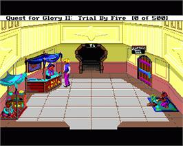 In game image of Quest for Glory II: Trial by Fire on the Commodore Amiga.