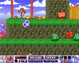 In game image of Quik the Thunder Rabbit on the Commodore Amiga.