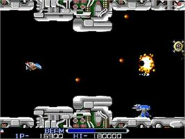 In game image of R-Type on the Commodore Amiga.