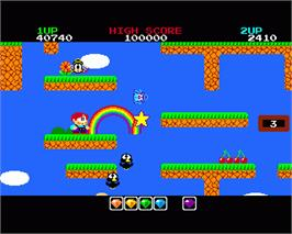 In game image of Rainbow Islands on the Commodore Amiga.
