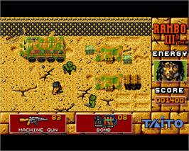 In game image of Rambo III on the Commodore Amiga.