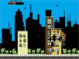 In game image of Rampage on the Commodore Amiga.