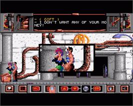 In game image of Ranx on the Commodore Amiga.