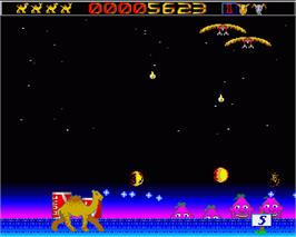 In game image of Revenge of the Mutant Camels on the Commodore Amiga.