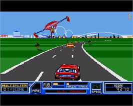 In game image of Road Blasters on the Commodore Amiga.