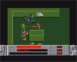 In game image of Road Raider on the Commodore Amiga.