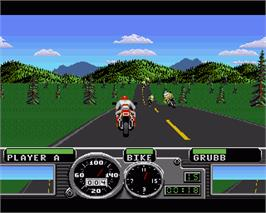 In game image of Road Rash on the Commodore Amiga.