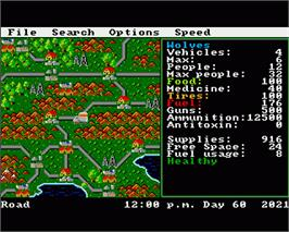 In game image of Roadwar Europa on the Commodore Amiga.