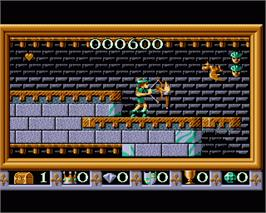 In game image of Robin Hood: Legend Quest on the Commodore Amiga.
