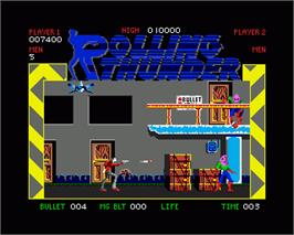In game image of Rolling Thunder on the Commodore Amiga.