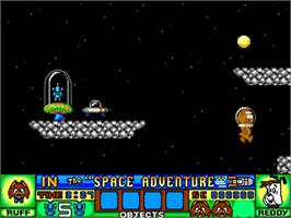 In game image of Ruff and Reddy in the Space Adventure on the Commodore Amiga.