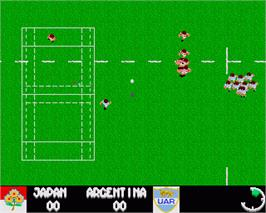 In game image of Rugby: The World Cup on the Commodore Amiga.
