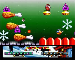 In game image of Santa's Xmas Caper on the Commodore Amiga.