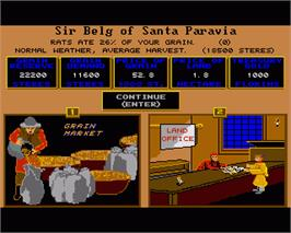 In game image of Santa Paravia and Fiumaccio on the Commodore Amiga.
