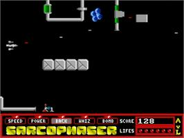 In game image of Sarcophaser on the Commodore Amiga.