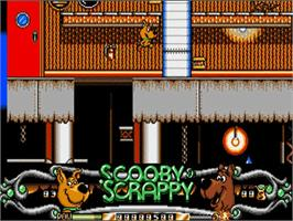 In game image of Scooby Doo and Scrappy Doo on the Commodore Amiga.