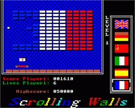 In game image of Scrolling Walls on the Commodore Amiga.