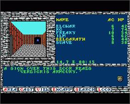 In game image of Secret of the Silver Blades on the Commodore Amiga.
