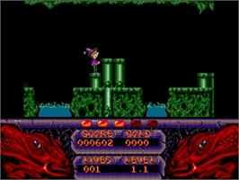 In game image of Seven Gates of Jambala on the Commodore Amiga.
