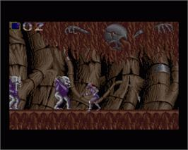 In game image of Shadow of the Beast 2 on the Commodore Amiga.