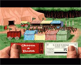 In game image of SideShow on the Commodore Amiga.