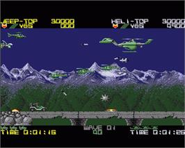 In game image of Silk Worm on the Commodore Amiga.