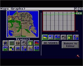 In game image of Sim City on the Commodore Amiga.