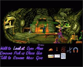 In game image of Simon the Sorcerer II: The Lion, the Wizard and the Wardrobe on the Commodore Amiga.