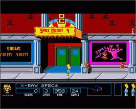 In game image of Simpsons: Bart vs. the Space Mutants on the Commodore Amiga.
