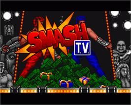 In game image of Smash T.V. on the Commodore Amiga.